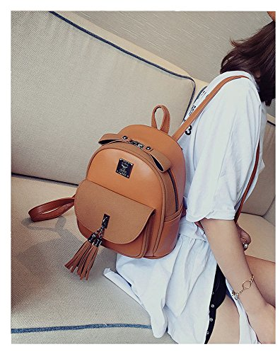 Travel backpack and bag shoulder RFVBNM student women's surface fashion backpack best camping version 232612cm backpack double girls the popular Korean gift PU pink for bag tassel shopping Brown of soft aaRqwZrB