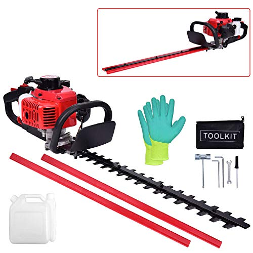 EASYG 26cc Gas Hedge Trimmer 24″ 2-Cycle Recoil Gasoline Trim Blade Blade Double-Sided with Safety Gloves and Some Accessories