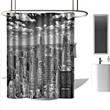 coolteey Shower Curtains for Bathroom Modern New York,NYC Over Manhattan from Top of Skyscrapers Urban Global Culture Artful City Panorama,Grey,W72 x L96,Shower Curtain for Shower stall