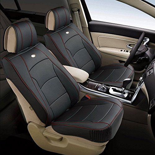 FH Group PU205102 Ultra Comfort Leatherette Front Seat Cushions, Black w. Red Trim Color- Fit Most Car, Truck, SUV, or Van