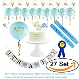 AiXiAng Baby Shower Decorations Strung Banner (OH BABY) & 20PC Balloons with Ribbon [Gold, Confetti, White] Kit Set | Hang on Wall | Glitter Unisex Pregnancy Announcement Gender Reveal Party