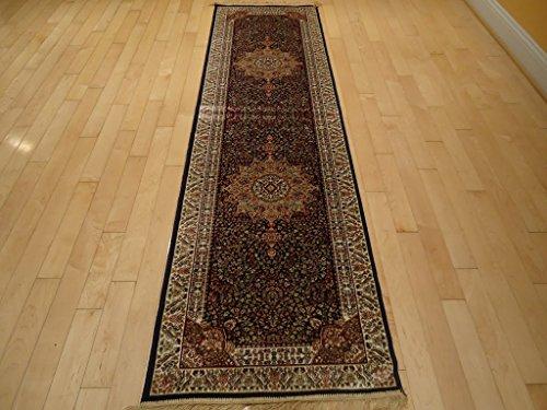 Silk Rug Luxury Navy Rug Persian Rug Runner Rug for Hallway 2×12 Long Navy Runners 2×10 Dining Room Carpet Navy NEW (2'x12′ Hallway Runner) Review