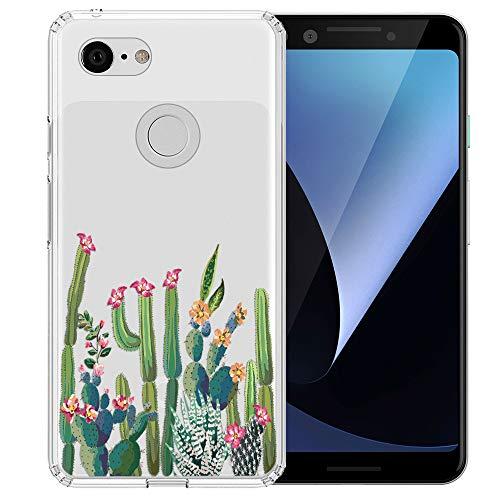 Topnow Google Pixel 3 Case, Clear Design Plastic Hard Back Case with TPU Bumper Protective Case Cover for Google Pixel 3 - Cactus Plexus