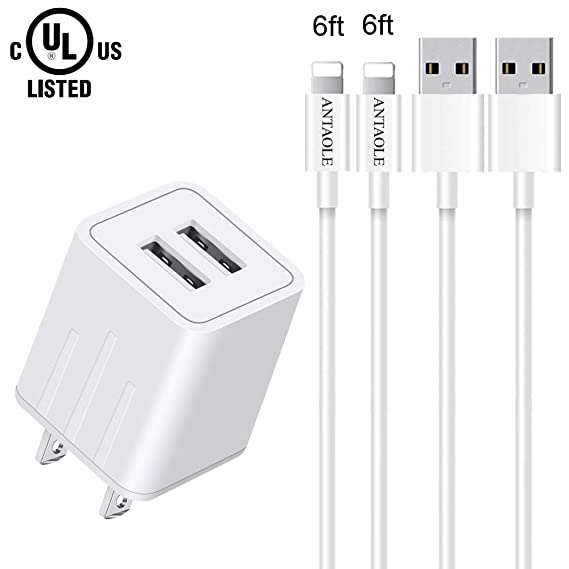 1ebf88cb88bedc ANTAOLE Phone Charger Dual Port Wall Charger Travel Power Adapter(ETL  Listed), 2