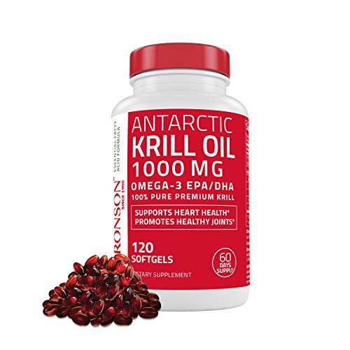 Bronson Antarctic Krill Oil 1000 mg with Astaxanthin, 120 Softgels (60 Servings)