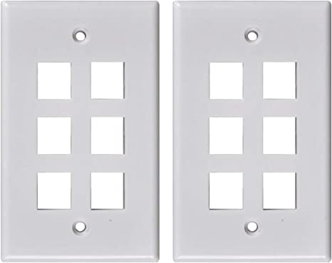 4x 4 Port Hole 1-Gang Keystone Jack Insert Decora Style Wall Plate Modular White