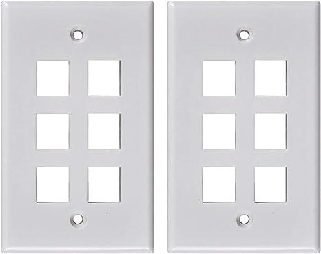 6 Port Hole Keystone Insert CAT RJ45 HDMI Audio Module Wall Plate WHITE 2 Pack