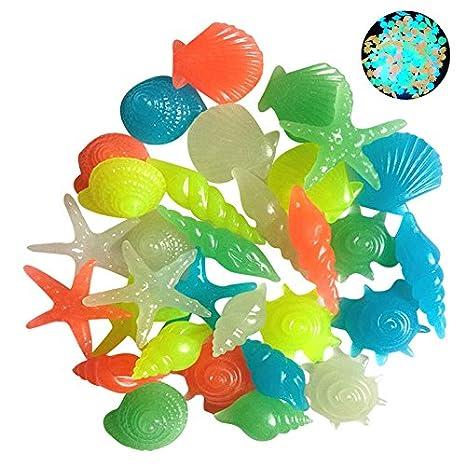 50 piedras fluorescentes luminosas coloridas con forma de concha y de estrella de mar para decoración de acuario, piscina, paisaje fluorescente: Amazon.es: ...