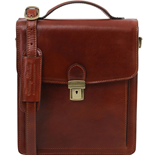 Tuscany Leather David Leather Crossbody Bag - large size Brown by Tuscany Leather