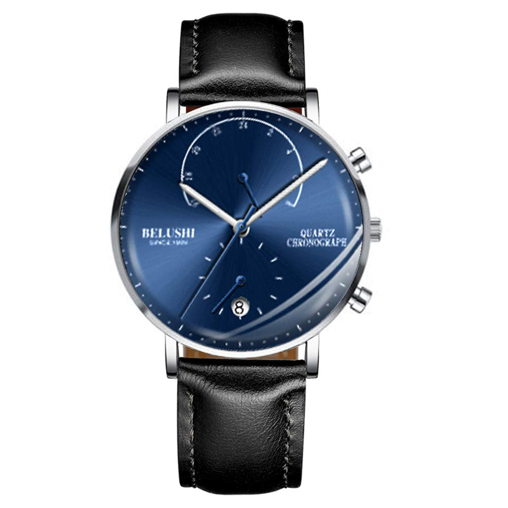 Men s Ultra-Thin Watch,Leather Strap with Ultra-Thin Men s Watch, Men s Fashion Minimalist Quartz Watch, Blue Black Leather Strap Blue 9 mm -48.6 g