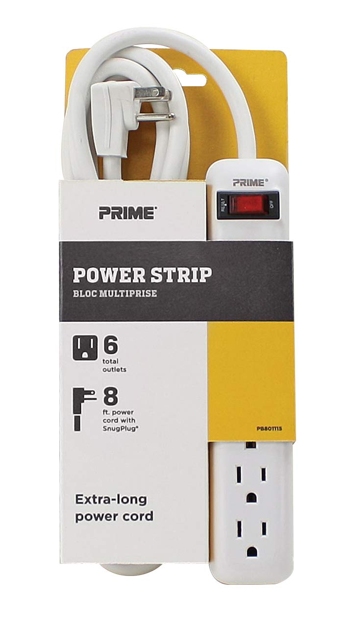 Prime Wire & Cable PB801115 6-Outlet White Power Strip with 8-Foot Cord, White