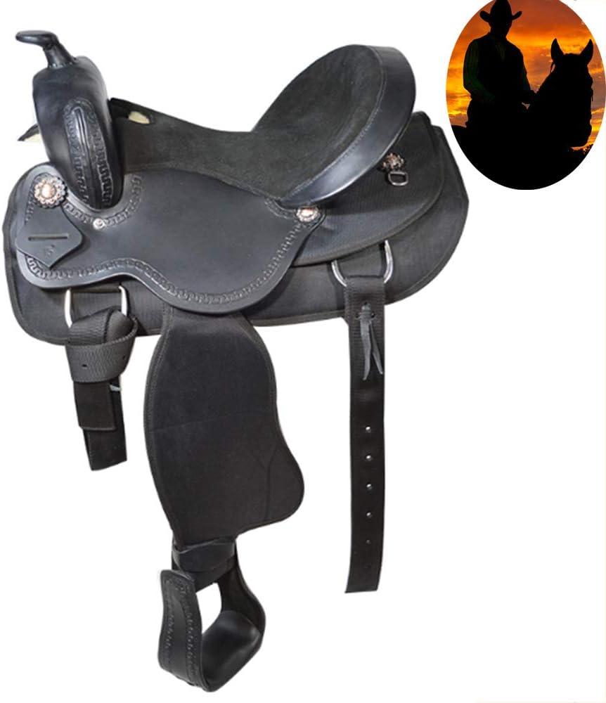 Silla, silla de montar todo el zurriago de cuero natural occidental, cómoda reproducción de pistas de carreras de barril, herramienta de mano avanzado conjunto de busto cuerda de la silla de montar
