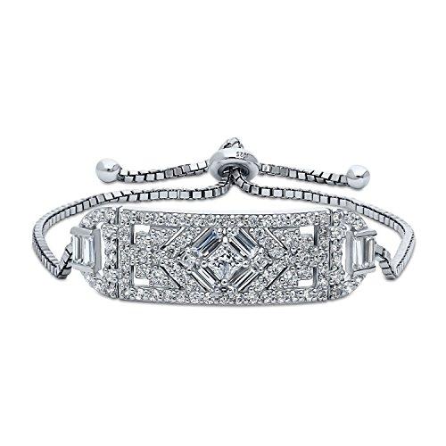 BERRICLE Rhodium Plated Silver Princess Cut Cubic Zirconia CZ Art Deco Bar Chain Bracelet ()