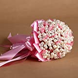 Hestian 7.8'' Luxury Handmade Pearls Romantic Bridal Toss Bouquet Wedding Bouquet Hand Tie (PINK)