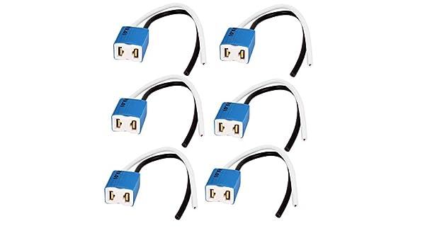 sourcingmap Veh/ículo Precableada H7 Toma de Cer/ámica para Delantera LEDs Luz Antiniebla Bombilla Conector de 2 Terminales con Arn/és de 2 Cables 12V 6Pcs