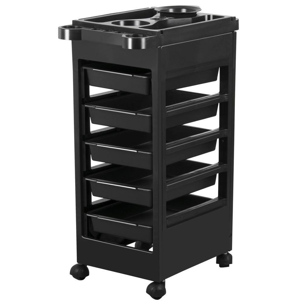 Yaheetech Salon SPA Beauty Hairdressing Rolling Trolley Cart With 5 Drawers Hair Dryer Service Tray Tool Storage Cart Black by Yaheetech