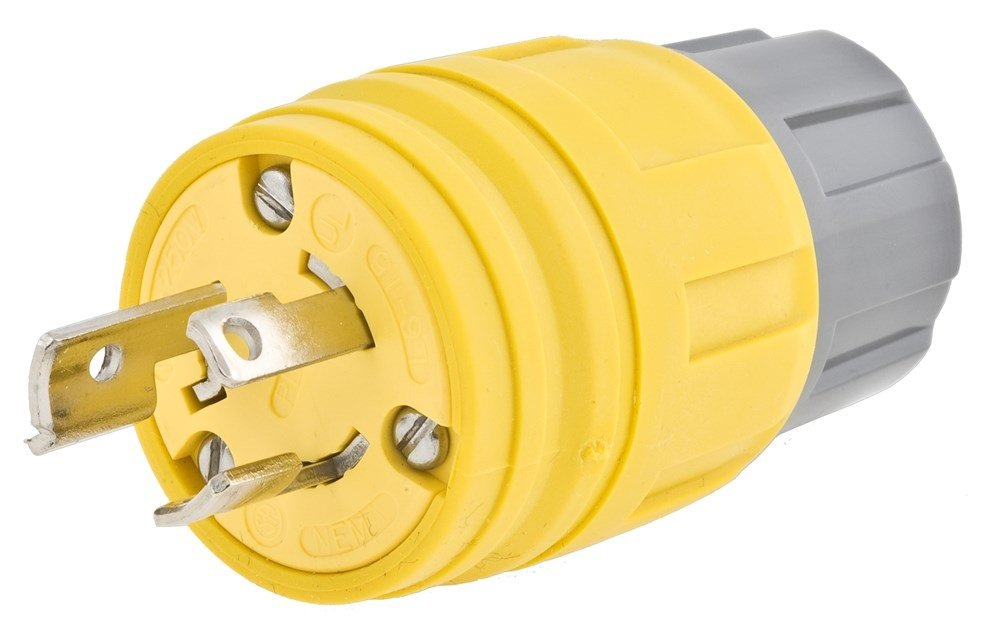 125//250V Yellow 3-Pole 30 amp 3-Wire Grounding Hubbell Wiring Systems 28W08H Twist-Lock TPE Watertight Plug