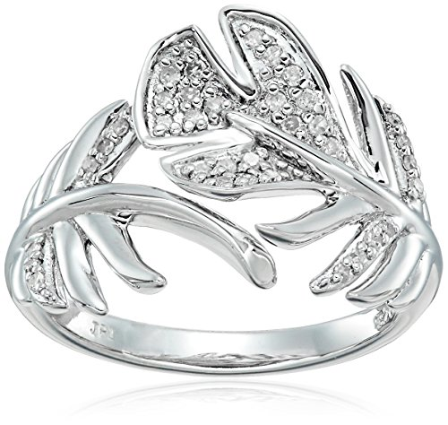 - Sterling Silver Leaf Diamond Ring (1/10cttw, I-J Color, I2-I3 Clarity), Size 7