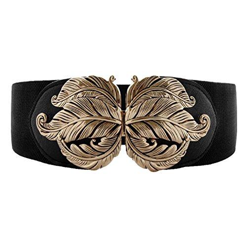 Vintage Elegant Metal Leaf Buckle Stretch Waist Dress Belt Wide Elastic Waistband For Women Ladies, Black 3, XXL(32