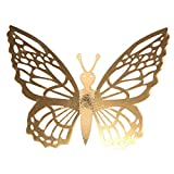 Cyhulu Butterfly Gold Sliver Color Wall Decals(Pack of 12Pcs), Beautiful Bright Real Looking Butterfly Stickers Ornaments for Living Room Bedroom Party Weeding Home DIY Art Decor (E, One size)