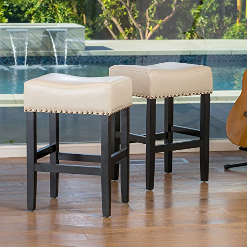 Chantal Backless White Counter Height Stools with Brass Nailhead Studs, Set of 2