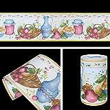 SimpleLife4U Removable Vinyl Wallpaper Border Peel & Stick Wall Borders Kitchen Tiles Decor Sticker Fruite Vase Pattern