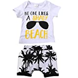Charm Kingdom Kids Toddler Baby Boys Girls No One Likes A Shady Beach Glasses Shirt and Palm Shorts Set (100 (2-3Y), White)