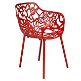 LeisureMod Devon Modern Aluminum Indoor-Outdoor Stackable Side Dining Arm Chair (Red)