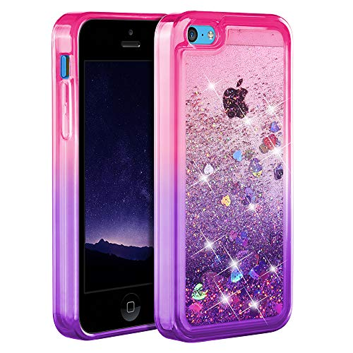 iPhone 5c Case, Ruky [Gradient Quicksand Series] Glitter Flowing Liquid Floating Protective Shockproof Clear TPU Girls Case for iPhone 5c - (Pink&Purple)