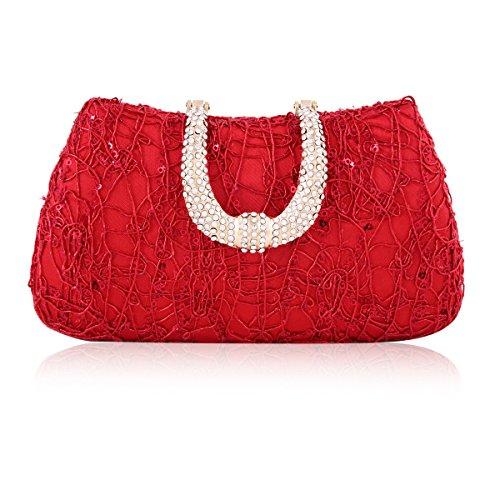 Nest Evening Diamond Sequin Covered Clasp Red Damara Womens Bag EnPqx4