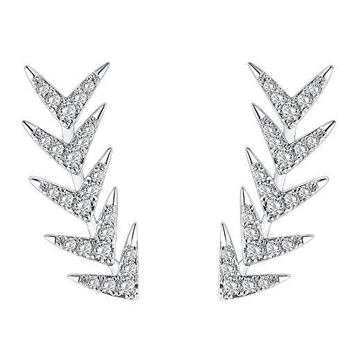 Sterling Silver Post Climber Arrow Ear Crawler Earrings ()