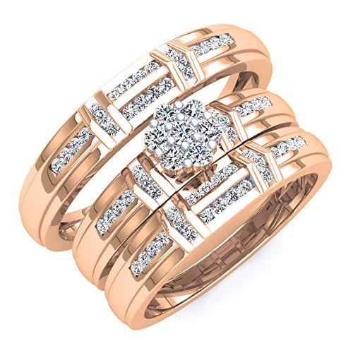18k Rose Gold Mans Diamond - Dazzlingrock Collection 0.50 Carat (ctw) 18K Rose Gold White Diamond Men & Women's Engagement Ring Trio Set 1/2 CT (Size)