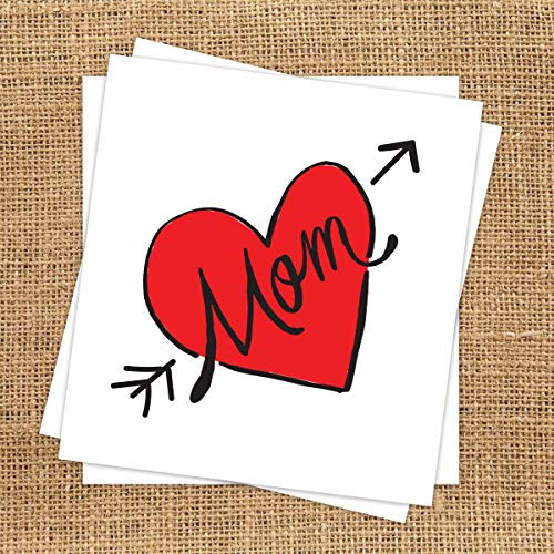 Contemporary Mom Heart Temporary Tattoo (3 Pack) | Skin Safe | MADE IN THE USA| Removable