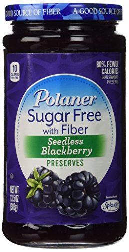 Polaner Seedless Blackberry Preserves Sugar Free with Fiber, 13.5 Oz, (Pack of 2) ()