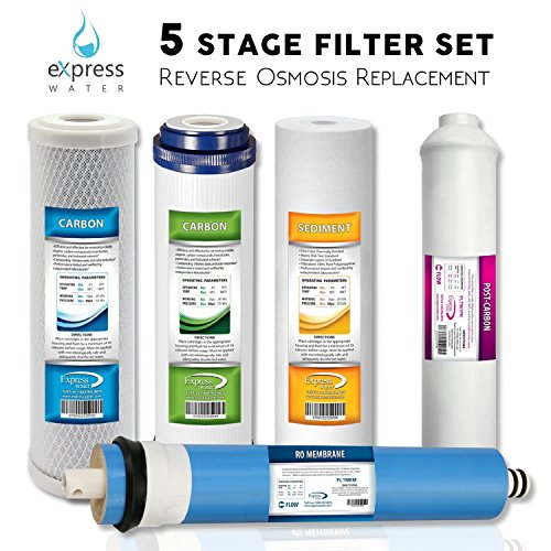 Express Water CSGIM5 Replacement Filter Set for Standard 5 Stage Reverse Osmosis Water filter System 50 GPD Ro Filters, White
