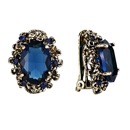 BriLove Victorian Style Clip On Earrings for Women Crystal Floral Cameo Inspired Oval Earrings Navy Blue Sapphire Color Antique-Gold-Toned Blue Sapphire Crystal Earrings