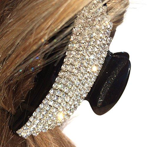 QueenMee Moon Crystal Hair Clip Rhinestone Hair Claw Black Rhinestone Hair Clip Claw Black Hair Claw Crystal Hair Claw Clip Black Crystal Hair Clip Wedding Hair Claw Clip ()