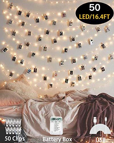 Photo Clips String Light,17 ft 50 LED Waterproof Fairy String Lights with 50 Clips, Battery/USB Powered String Lights…