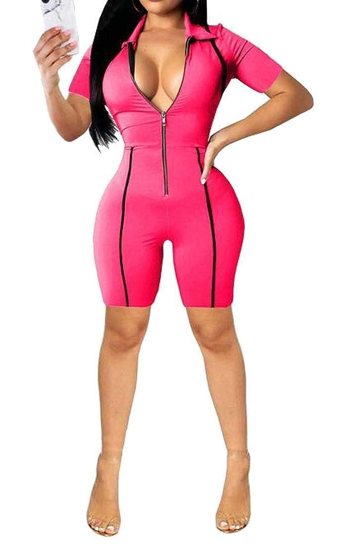 Jotebriyo Womens Stylish Short Sleeve Zip Up Stitching Bodycon Short Jumpsuit Romper