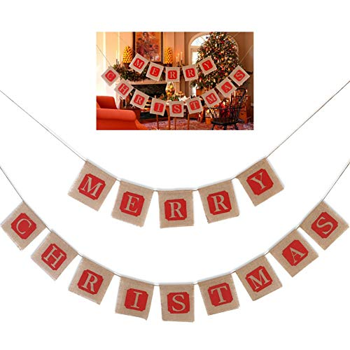 Kingkun Merry Christmas Banner Hanging Pennant Jute Burlap Banner Flag Garland for Home Garden Party Holiday Decoration