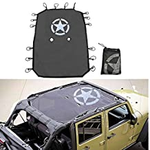 SXMA Jeep Wrangler Durable Mesh Sun Shade Full Top Cover UV Protection with Storage Pockets For Jeep Wrangler Jk 4 Door 2007-2017(Black-J260)