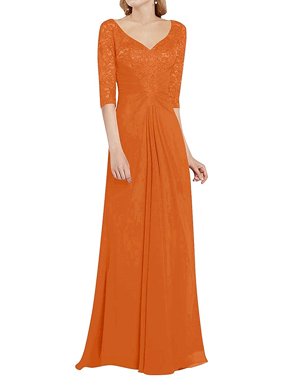 orange Mother of The Bride Dress with Half Long Sleeves Formal Evening Gownes Mother Dresses