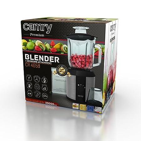 Camry CR 4058 batidora de Vaso, 1.5 litros, 0 Decibeles, Vidrio, Negro: Amazon.es: Hogar