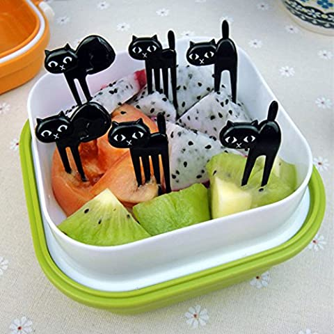 M$M shop LIMITOOLS 6 pcs black cat fork cute fruit cartoon kid fork toothpick gadget kitten decoration fork kitchen - Victorinox Replacement Toothpick