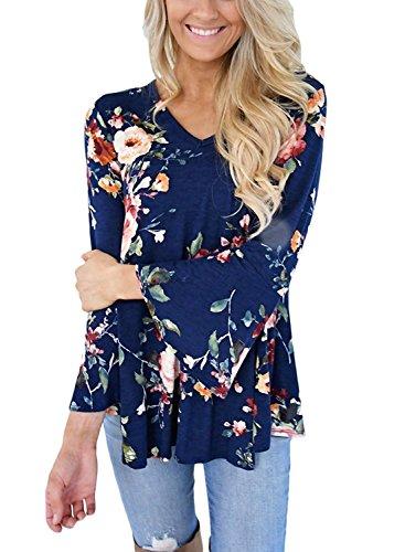 Women Trumpet Sleeve Floral Print V Neck Blouse Top Shirt ((US 16-18) XL, Navy Blue) ()