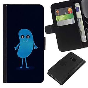 All Phone Most Case / Oferta Especial Cáscara Funda de cuero Monedero Cubierta de proteccion Caso / Wallet Case for HTC One M7 // CUTE BLUE BEAN