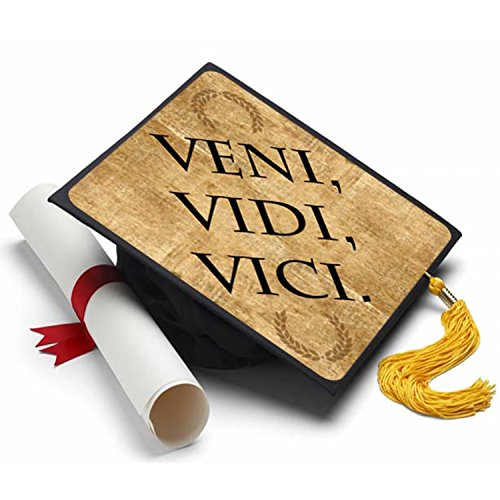 Veni Vidi Vici Grad Cap Tassel Topper   Decorated Grad Caps
