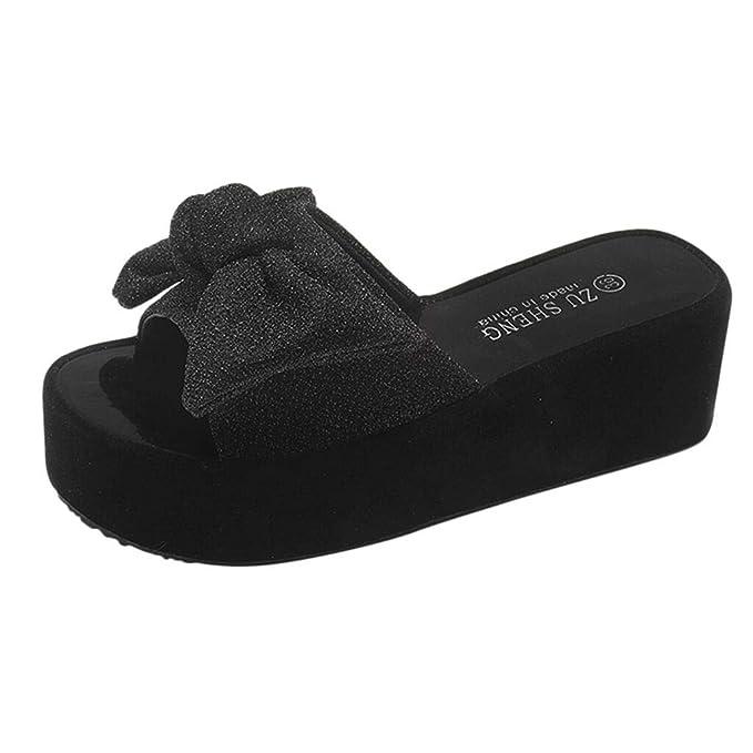 POLP Zapatos Planos Plataforma Transpirable Playa Mujer,Zapatillas y Chanclas casa Suave y cómodo Sandalias de Vestir Mujer Tacon Negro Plata 35-39: ...