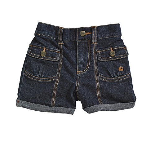 Carhartt Kid's CH9241 Washed Denim Short - Girls - 2 Toddler - Denim ()