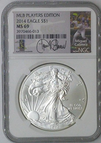 (2014 Modern Commemorative $1 MS69 NGC $1 Silver Eagle 1 Troy Oz Fine Silver .999 MLB Players Edition Miguel Cabrera MS69 NGC)